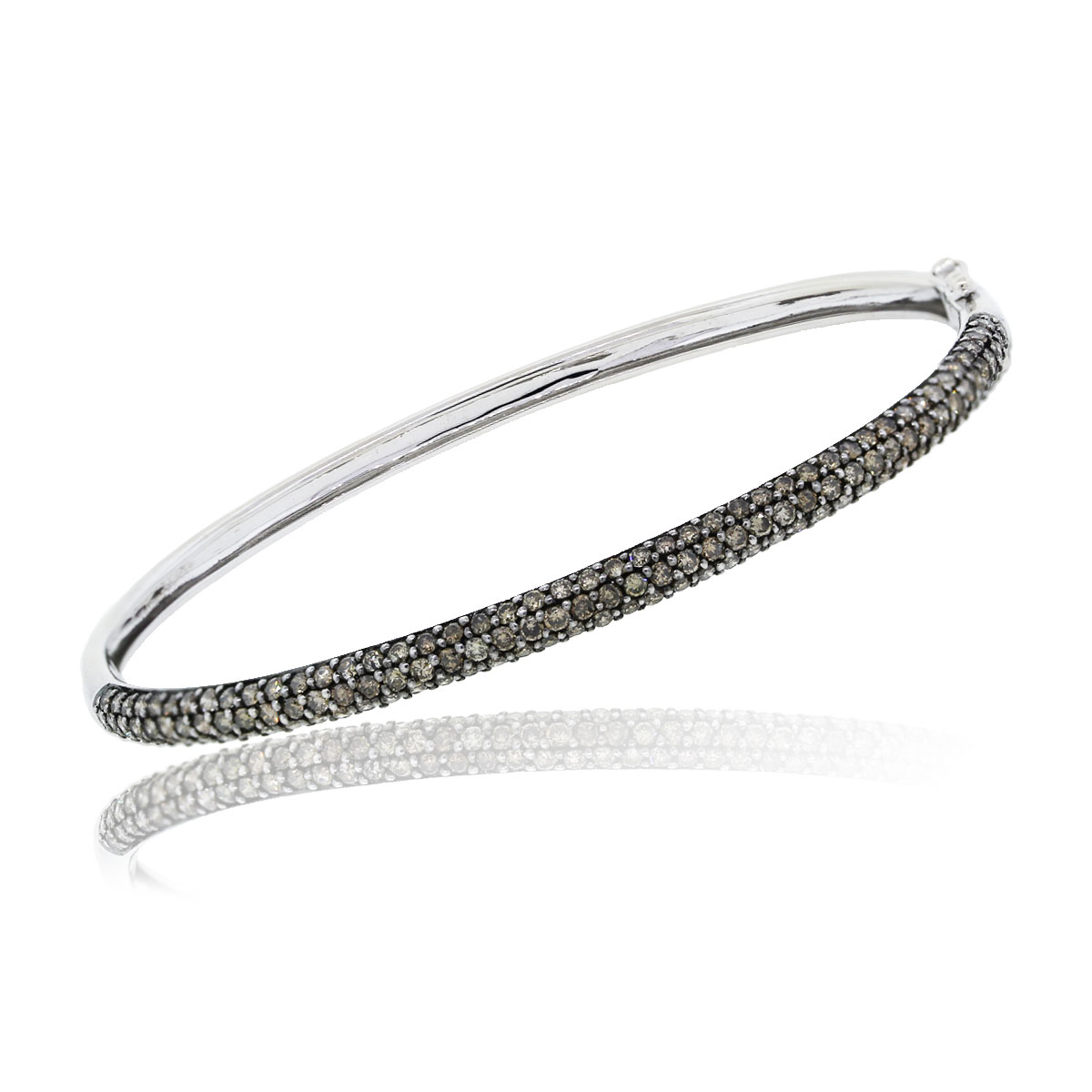 You are viewing this 14k White Gold Cognac Diamond Bangle Bracelet!