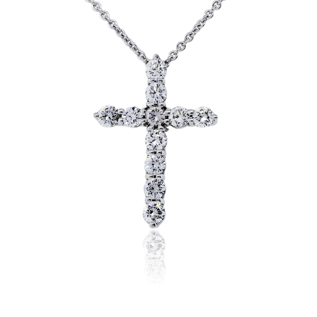 You are viewing this 18k White Gold Diamond Cross Pendant Chain Necklace!