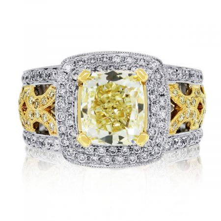 Have you seen this 18k Two Tone Fancy Yellow Cushion Cut Diamond Engagement Ring