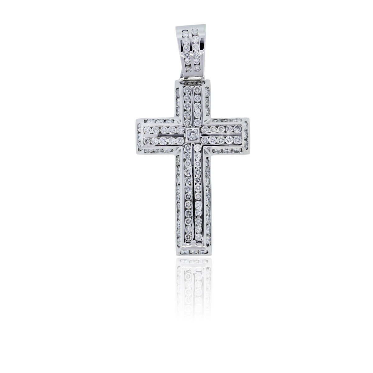 You are viewing this 14k White Gold, 6.50 Carat Diamond Pave Cross!