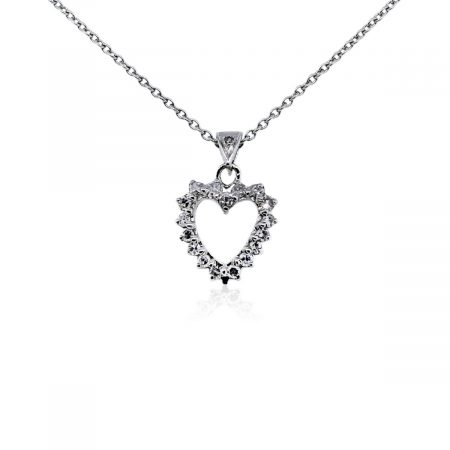 You are viewing this 14k White Gold Diamond Heart Pendant Necklace!