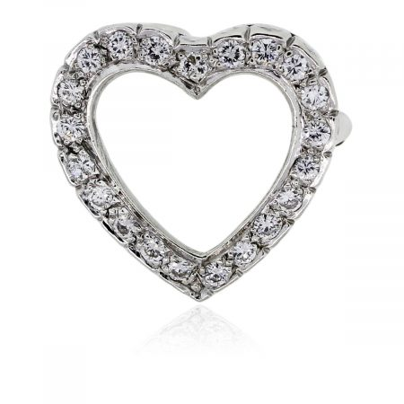 You are viewing this 14k White Gold Diamond Heart Slide Pin & Pendant!