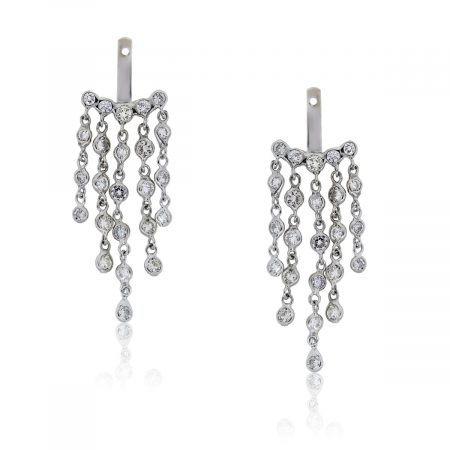 You are viewing these 18k White Gold Round Diamond Dangle Jacket Earrings!