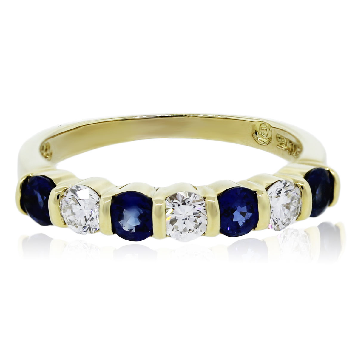 You are viewing this 18K Yellow Gold Diamond and Sapphire Ring!