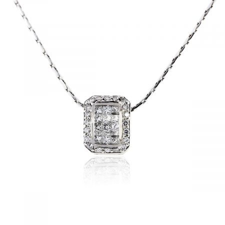 You are viewing this 14k White Gold Princess Cut and Round Brilliant Diamond Pendant Chain!