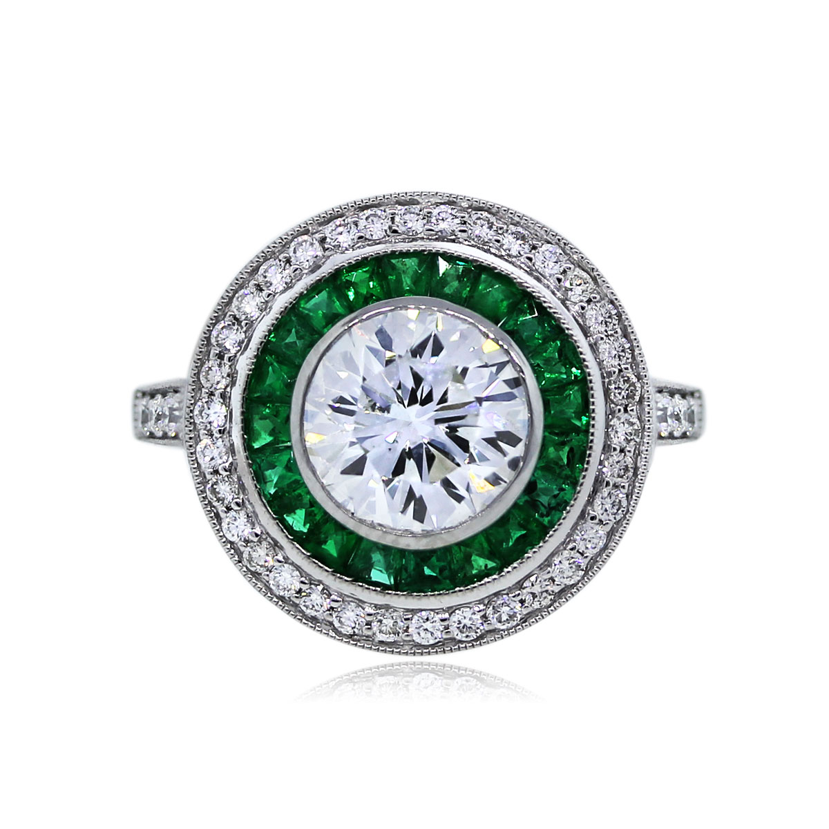 You are Viewing this Stunning 1.53ct Emerald and Diamond Engagement Ring!