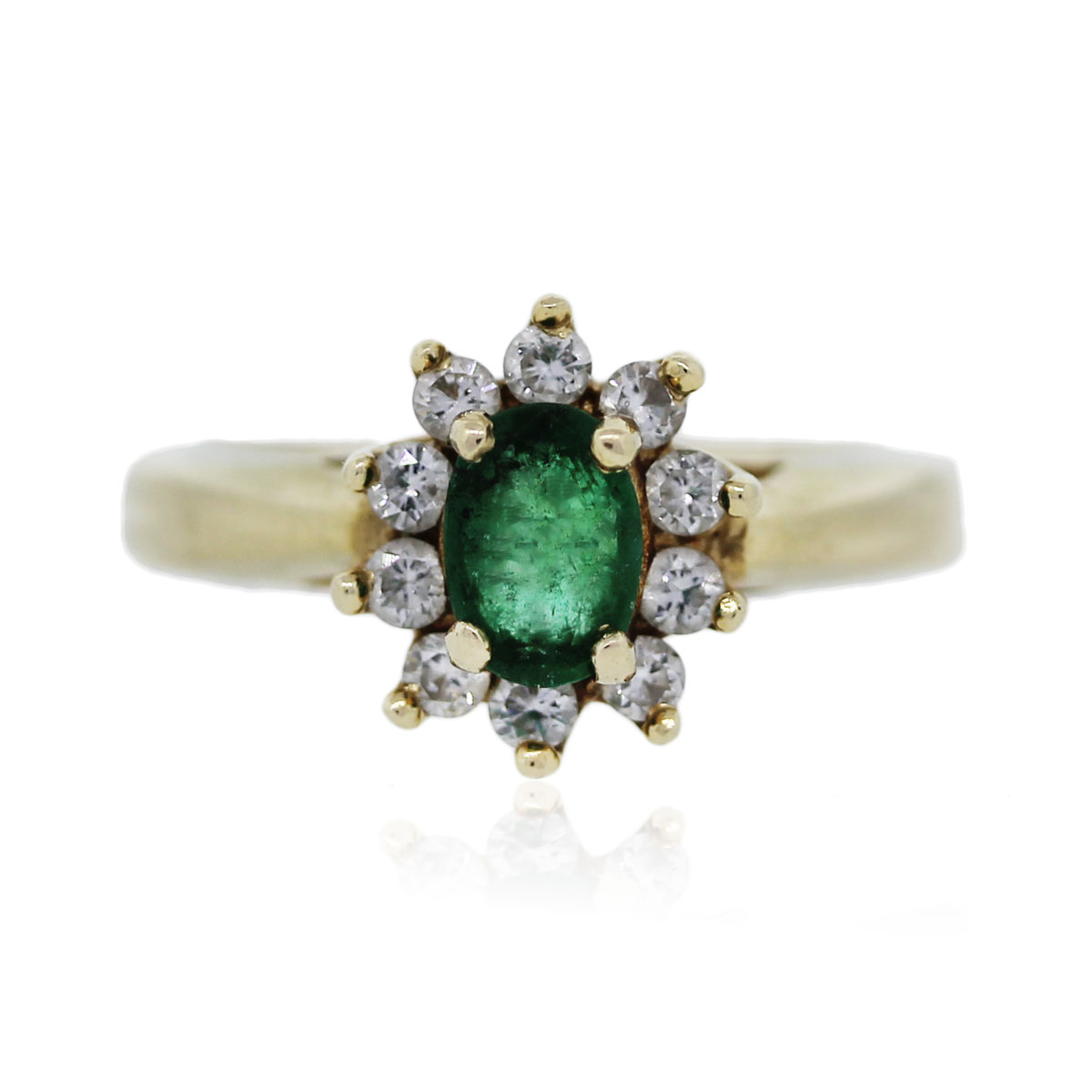 You are viewing this 14k Yellow Gold Emerald and Diamond Ring!