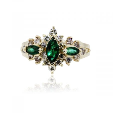 You are viewing this 14K Yellow Gold, Marquise Emerald and Diamond Cocktail Ring!