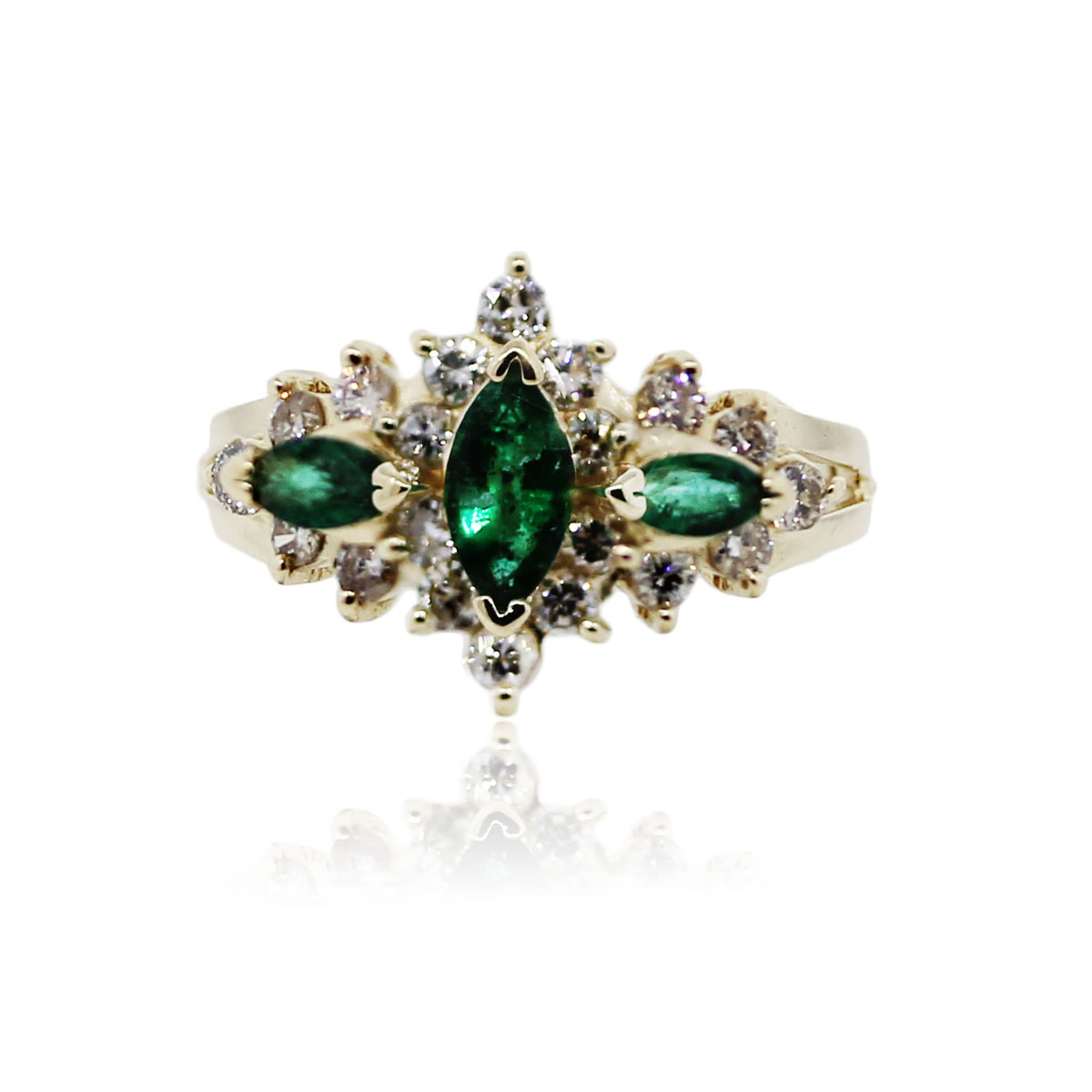 14k yellow gold marquise emerald and cocktail