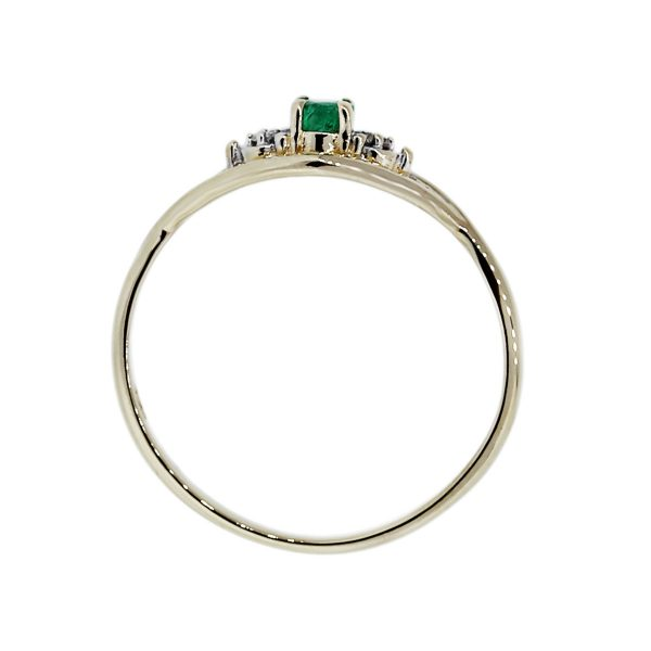 Emerald Diamond Accents Yellow Gold Ring