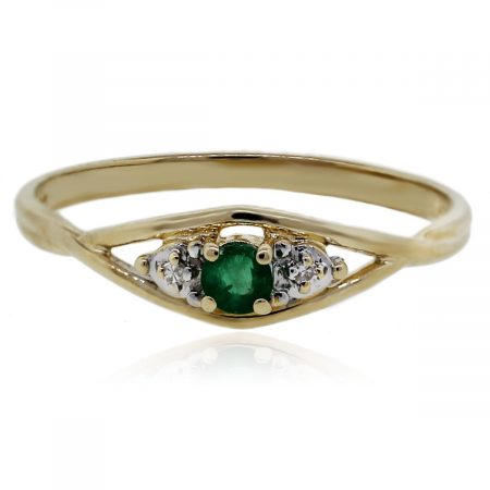You are viewing this Round Emerald Diamond Accents Yellow Gold Ring!