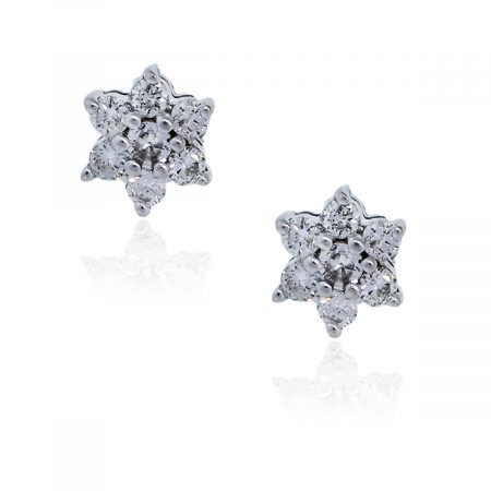 You are viewing these 14K White Gold Diamond Flower Stud Earrings!