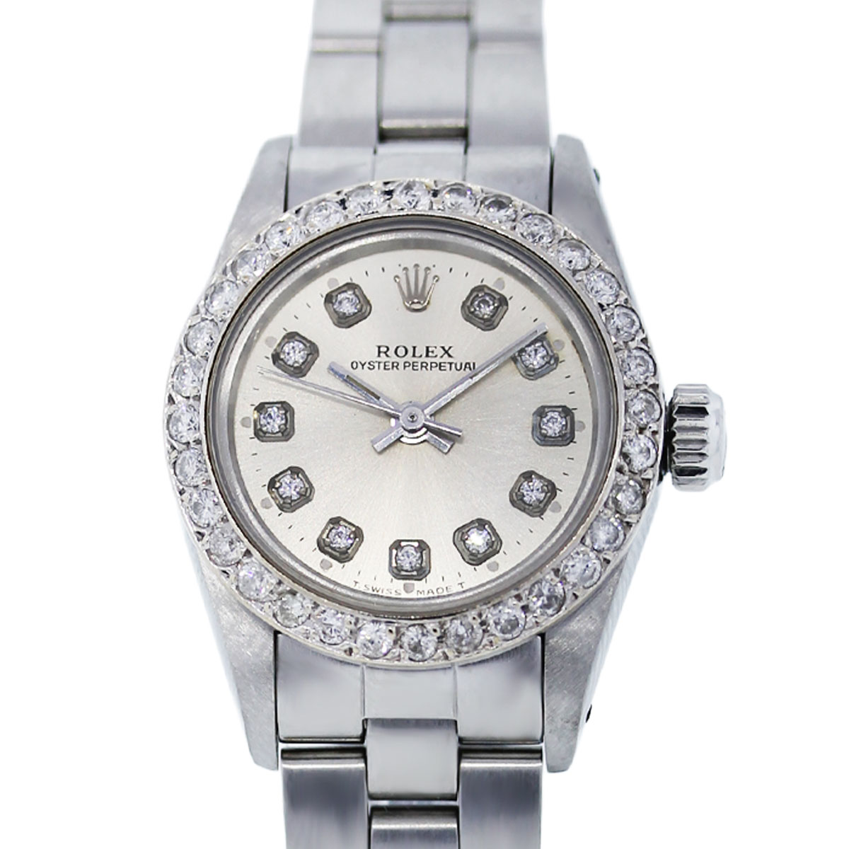 You are viewing this Rolex Oyster Perpetual Diamond Dial and Bezel 67194 Ladies Watch!