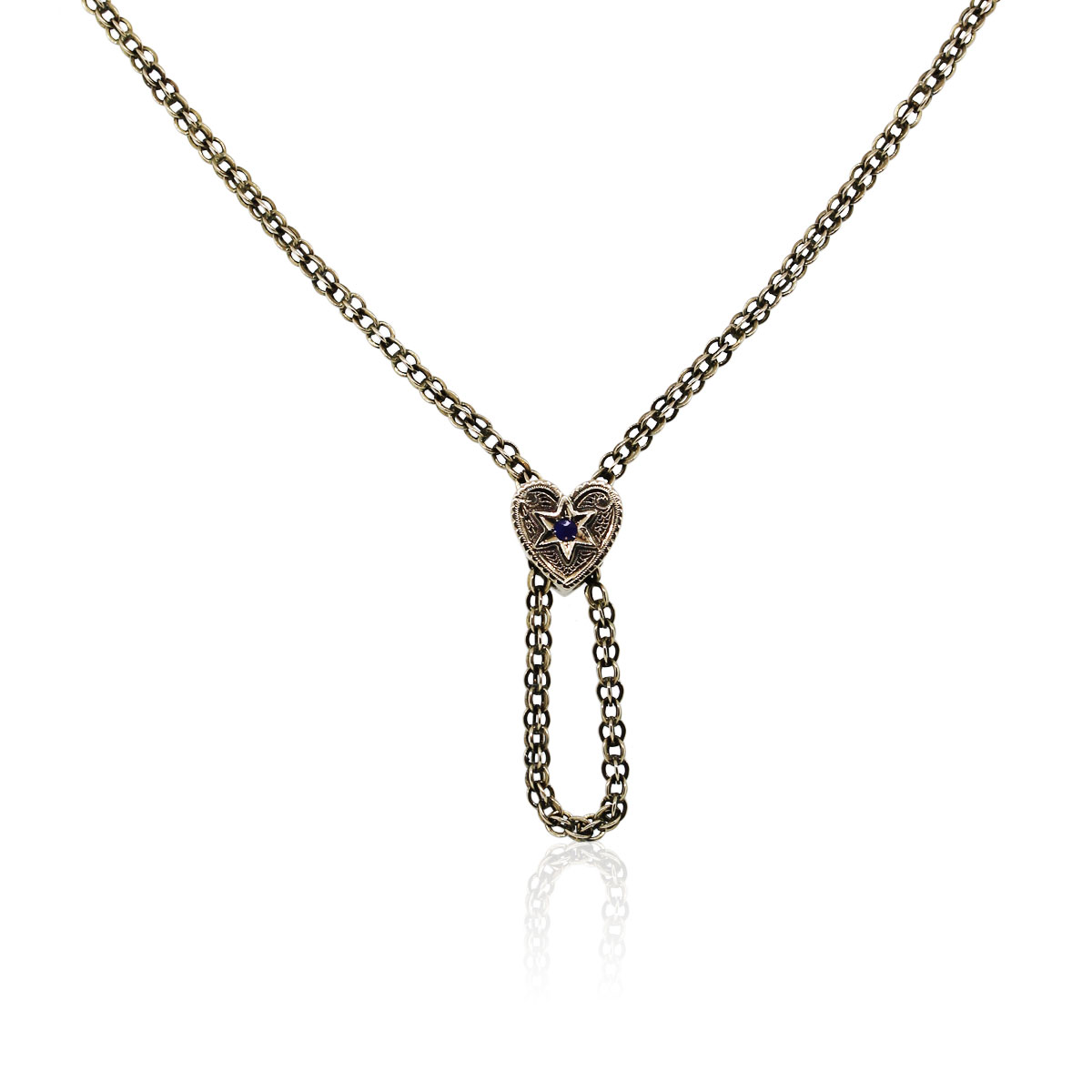 You are viewing this 14K Yellow Gold Vintage Heart Lariat Necklace!