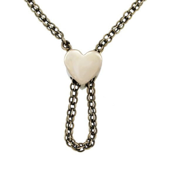Yellow Gold Vintage Lariat Heart Necklace