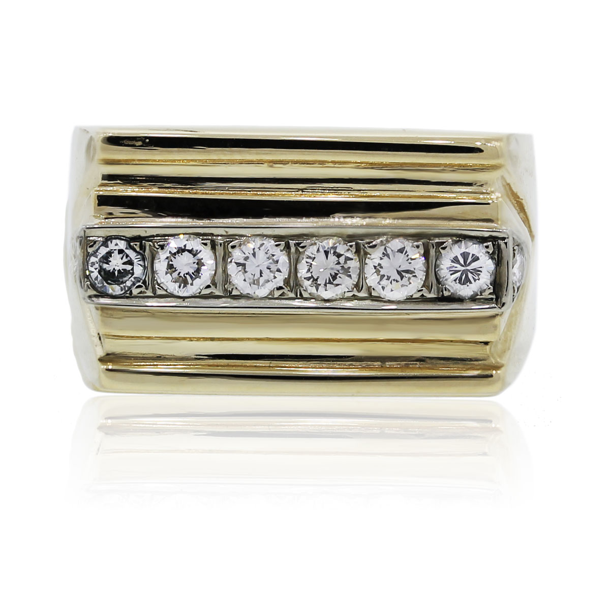 You are viewing this 14K Yellow Gold Single Row Diamond Square Mens Ring!