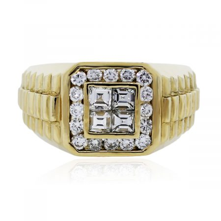 You are viewing this 14k Yellow Gold Diamond Signet Mens Ring!