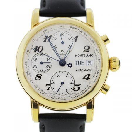 You are viewing this MontBlanc Meisterstruck 7001 Gold Plated Stainless Steel Chronograph Watch!