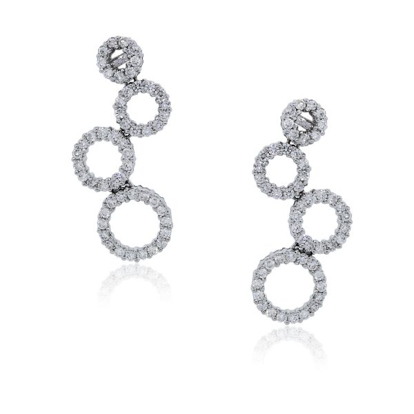 You are viewing these 18k White Gold Diamond Multi-Circle Drop Dangle Earrings!