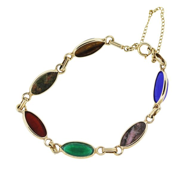 Gold Plated and Multi Precious Gemstones Bracelet