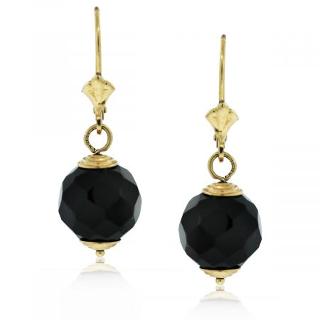 These 14k Yellow Gold Onyx Ball Dangle Earrings are beautiful!