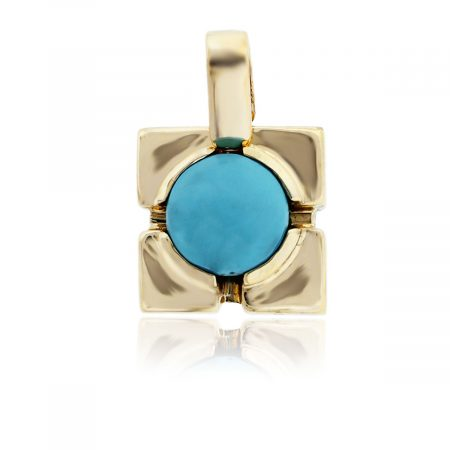 You are viewing this 18k Yellow Gold Round Turquoise Pendant!