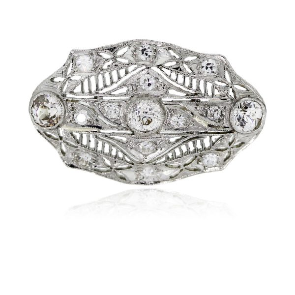 You are viewing this Platinum Antique Old European Cut Diamond Pin!