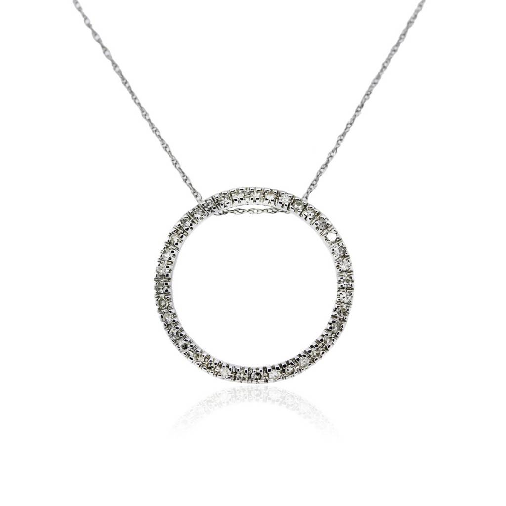 14k White Gold And Diamond Circle Of Life Pendant On Chain