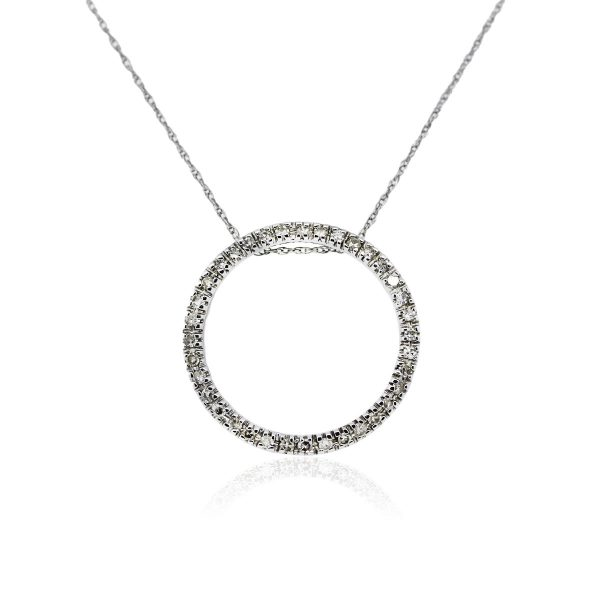 You are viewing this 14k White Gold and Diamond Circle of Life Pendant On Chain!