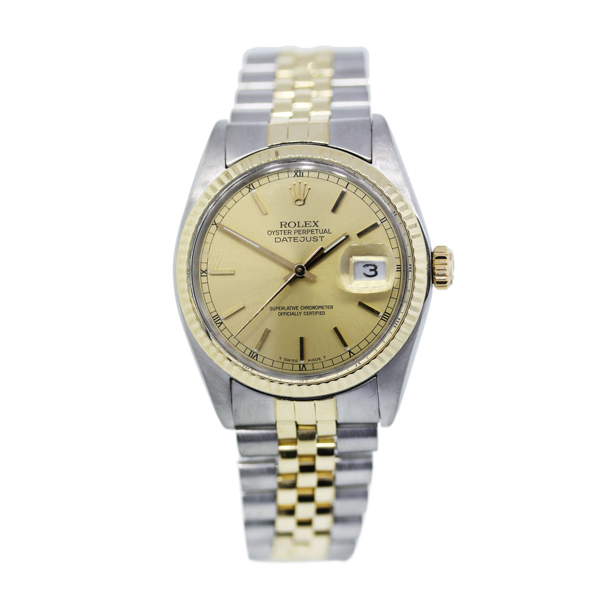 Rolex Datejust Champagne Dial Two Tone Mens Watch