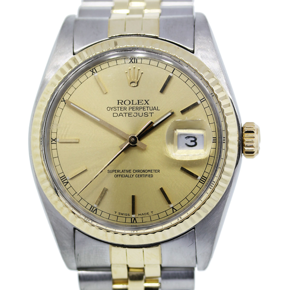 You are viewing this Rolex Datejust 16013 Champagne Dial Two Tone Mens Watch!