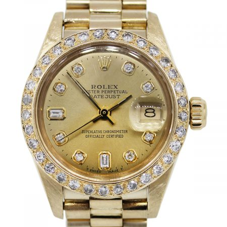 You are viewing this 18K Gold Rolex 6927 Ladies Datejust Presidential Diamond and Gold Bezel Watch!
