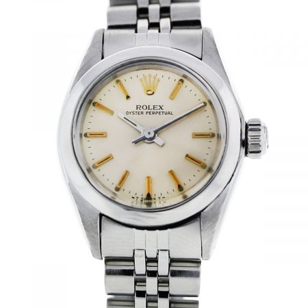 You are viewing this Rolex Oyster Perpetual Jubilee Champagne Dial Ladies Watch!
