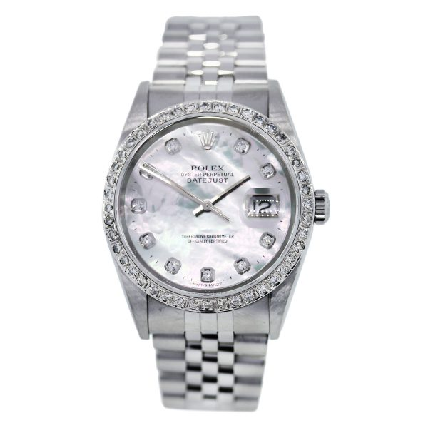 Rolex Datejust 16234 Diamond Bezel, Mother of Pearl Diamond Dial Mens Watch