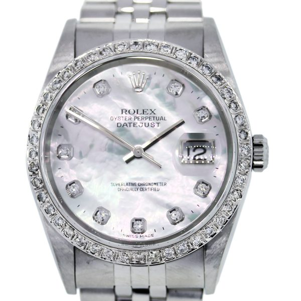 You are viewing this Rolex Datejust 16234 Mother of Pearl Diamond Dial Mens Watch!