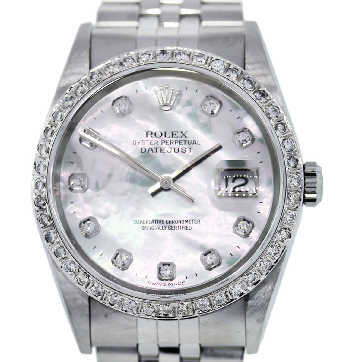 Rolex datejust 16234 mother of pearl diamond dial mens watch for Pearl watches