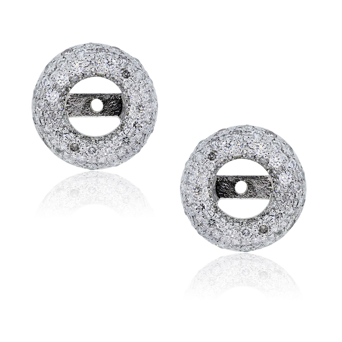 You are viewing these 18k White Gold Round Diamond Stud Earring Jackets!