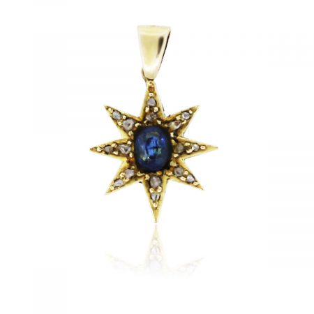 You are viewing this 18K Yellow Gold Sapphire & Diamonds Star Pendant!