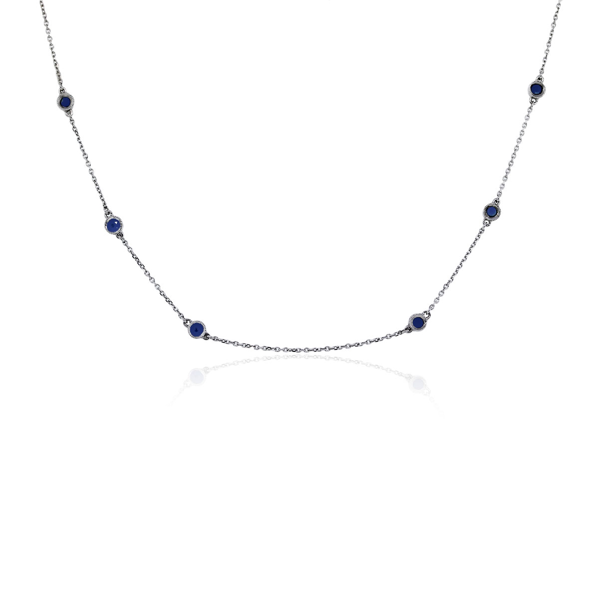 You are viewing this 14k White Gold 18.5'' Sapphires by the Yard Necklace!