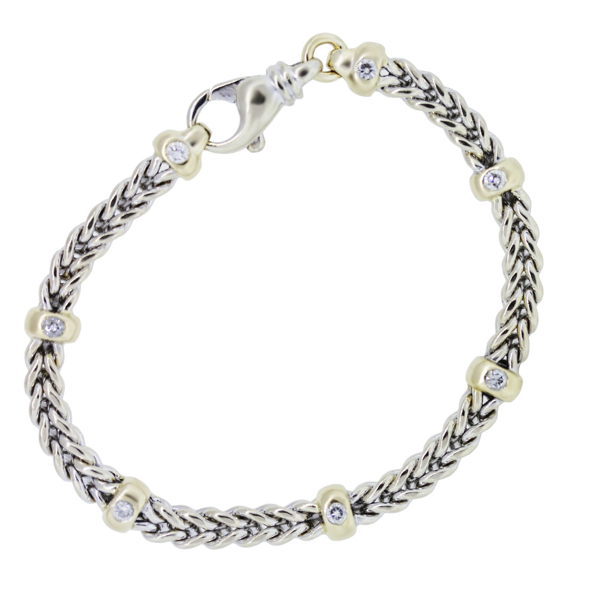 Two Tone Diamond Accents Woven Bracelet