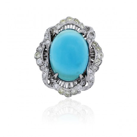 18k white gold turquoise and cocktail ring boca raton