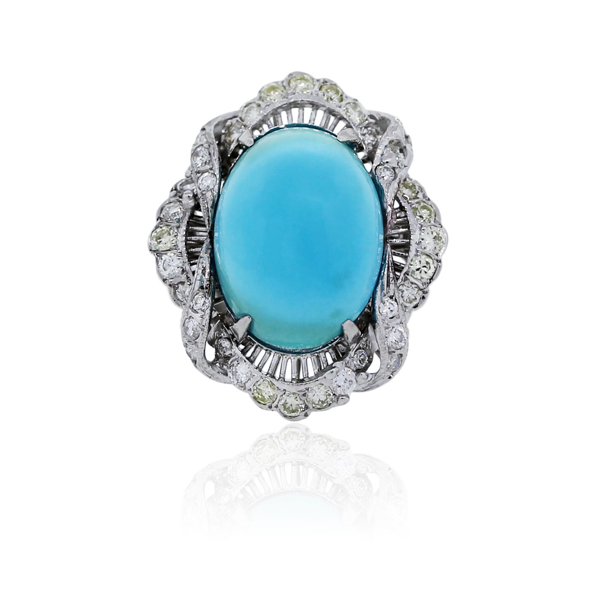 You are viewing this 18k White Gold Turquoise and Diamond Cocktail Ring!