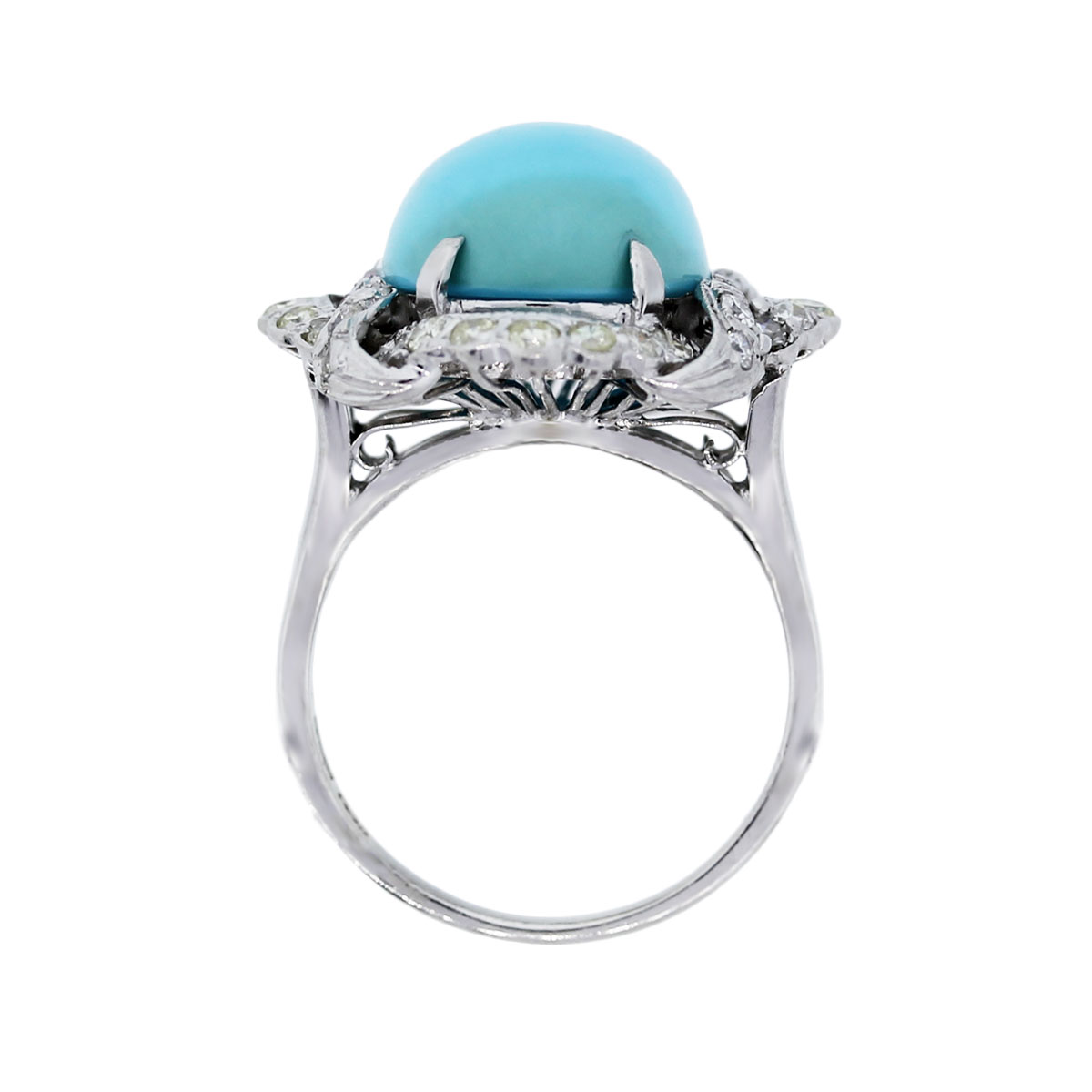 White Gold Turquoise and Diamond Cocktail Ring