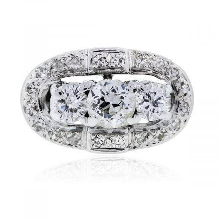 You are viewing this Vintage 14K White Gold Old European Cut Diamond Cocktail Ring!