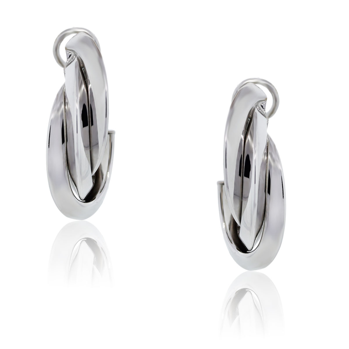 You are viewing these 18K White Gold Huggie Earrings!