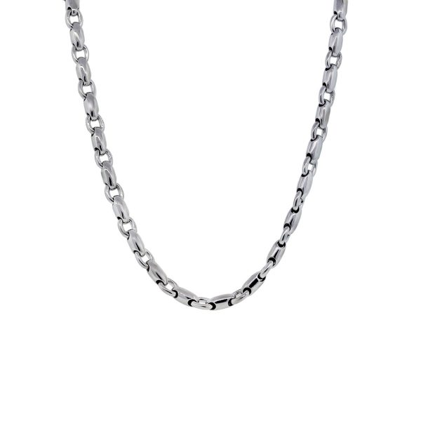 White Gold Barrel Chain Link Mens Necklace
