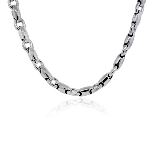 You are viewing this 14K White Gold Barrel Chain Link Mens Necklace!