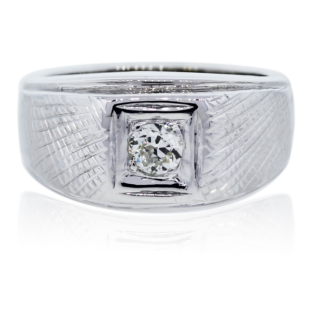 You are viewing this 14K White Gold and Diamond Gents Ring!