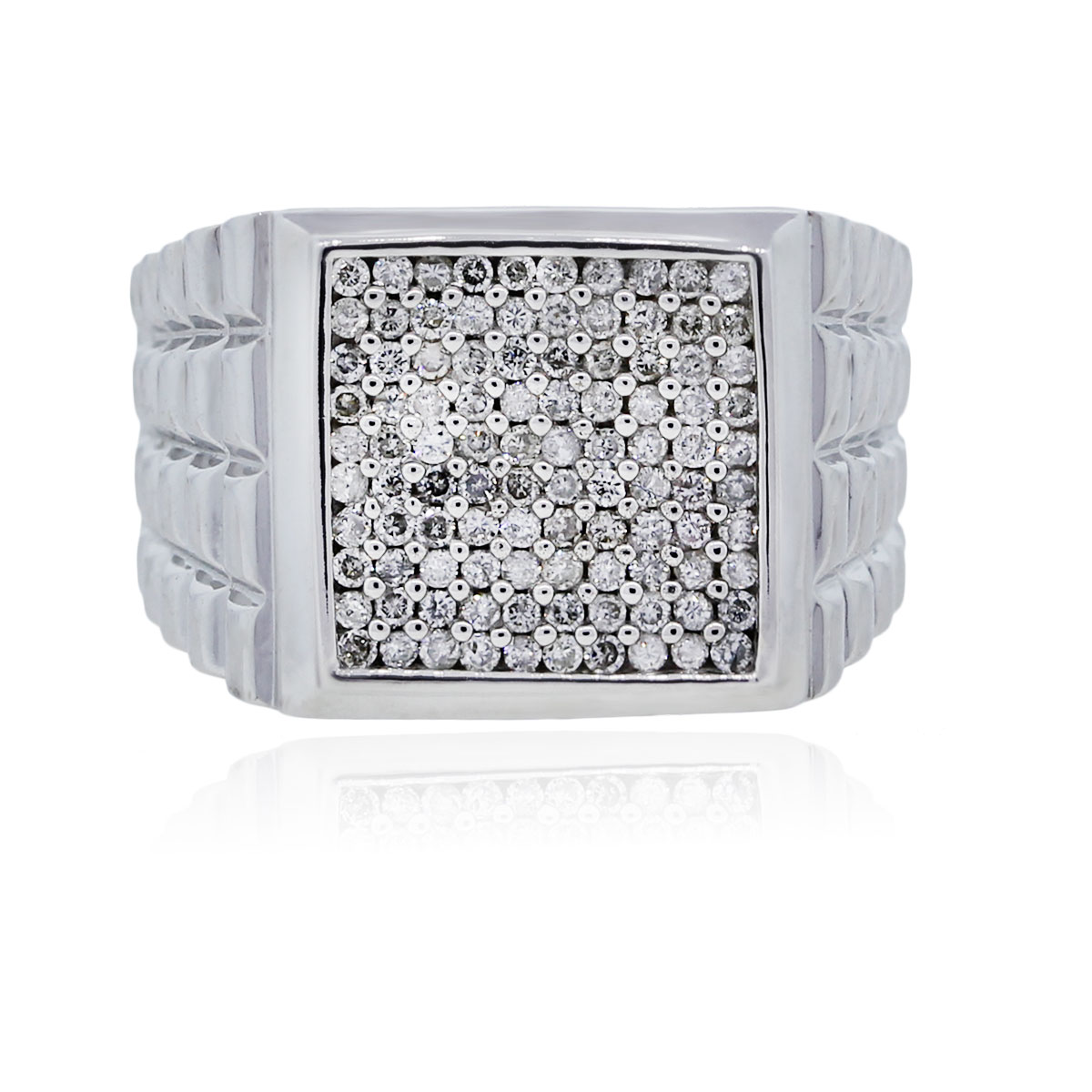 You are viewing this 14k White Gold Diamond Signet Mens Ring!