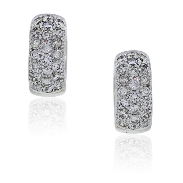 You are viewing these 14k White Gold, 1.26ctw of Pave Diamond Huggie Earrings!